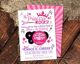 THIS PRINCESS ROCKS Birthday Invitation | Rock-Star Princess Birthday Party