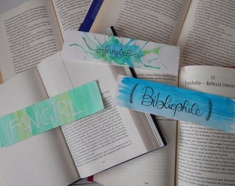 Bookmarks in watercolor Fangirl and Bibliophile