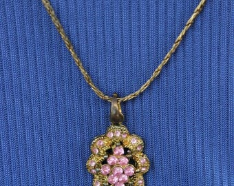 ON SALE Gold necklace with pink rhinestone pendant