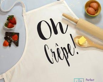 Oh Crepe! Cooking Apron, Baking Apron, White Slogan Apron