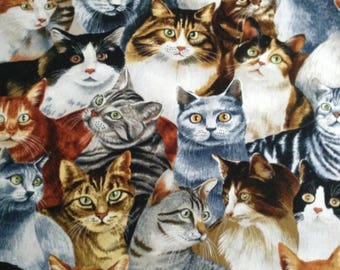 Cat Feline Fabric, Stacked Cats by Timeless Treasures