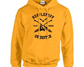 SEEKER - Huffle Quidditch team Seeker black print printed on Gold/Yellow Hoodie