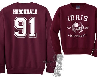 Herondale 91 Idris University Crew neck Sweatshirt Maroon