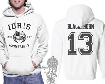Blackthorn 13 Idris University print on Unisex pullover Hoodie White