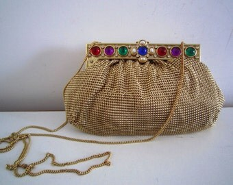 Vintage Whiting and Davis Gold Mesh Evening Bag, Usa 1940
