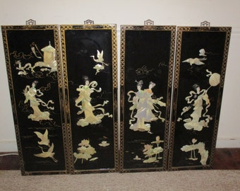 Vintage Antique Asian Oriental Mother of Pearl Wall Art Hangings (4)