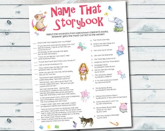 Storybook Baby Shower Games, Storybook Quiz Printable, Name That Storybook, Book Themed Baby Shower Games, Baby Book Printable Games