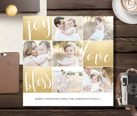 Holiday Greeting Card Template, Christmas Greeting Card Design, Greeting Card Template Design for Photographers - INSTANT DOWNLOAD - HC003