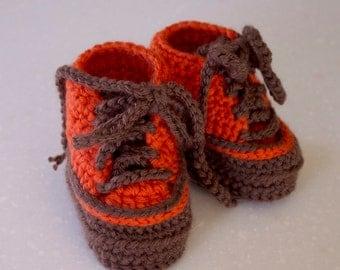 Baby Crochet High Top Shoe Bootie, Orange and Brown, 3 - 6 Months