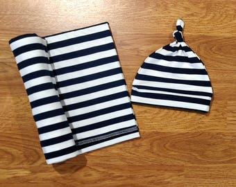 Baby Boy Swaddle Set, blanket, knotted hat, stripe, striped, shower gift, hospital gift, blue, navy, white, newborn, preemie, photo prop