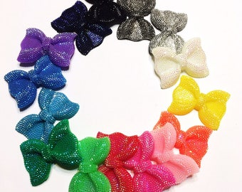 Kawaii Resin Bows With Hole AB Colors Resin Bows Cabochons Accessories For Decoden Hairbows and more! You Pick Color
