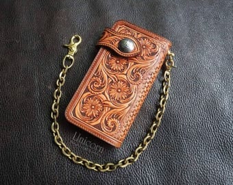 Long Wallet Biker Handmade Leather, leather wallet, carving leather