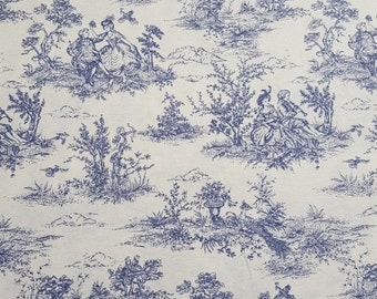 Toile du Jouy Fabric in Blue and White - French Shabby Chic - UK Seller