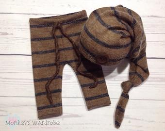 Newborn 'Rowan' striped pant and hat set.