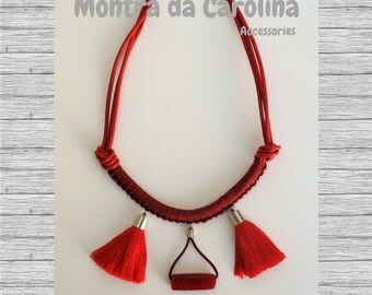 Statement Necklace, Red Necklace, Tassel Necklace