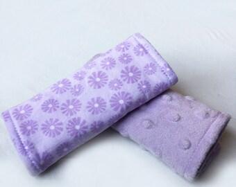 Car Seat Strap Covers - Reversible - Purple Flowers w/ Purple Minky Dot
