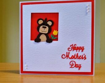 Mother's Day Card, Handmade - Cute Bear Holing Flower - Bear / Teddybear - Card For Mum / Mummy / Mother