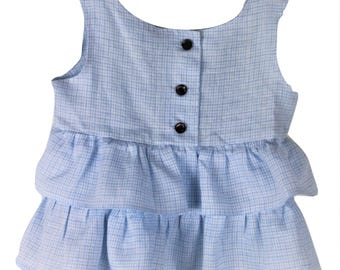 Pale blue check linen frilly top
