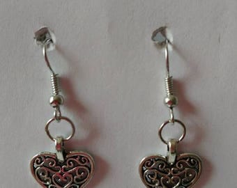 Small Silver Heart with silver fishhook