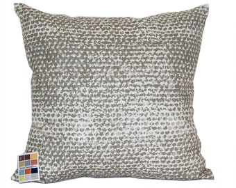 Gray Pillow Cover in Zoey Cove Pattern, Pillow Cover in Gray and Natural