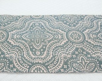 Cadet Blue Table Runner,  Lined Table Scarf in Aqua Blue and Natural Print