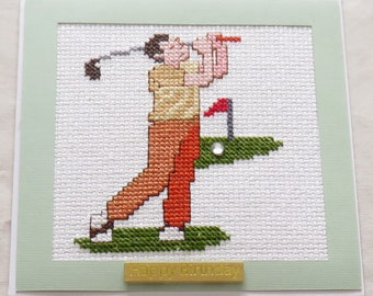 Cross-stitched Birthday card - blank for your own message. Free 2nd class P&P