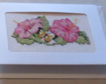 Cross-stitched greetings card - blank for your own message. Free 2nd class P&P