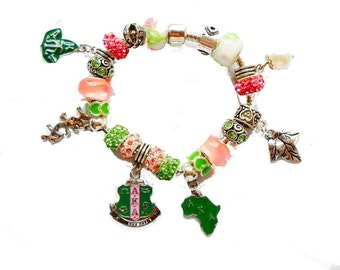 Alpha Kappa Alpha Sorority Charm  Bracelet 4 Sizes AKA/119/7.87