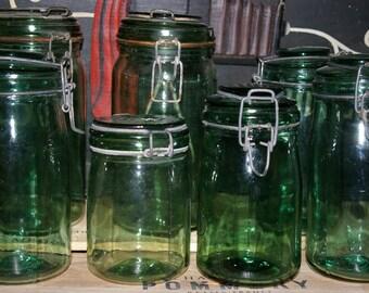 vintage green french mason jar