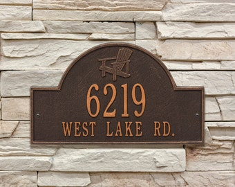 Adirondack Arch Two Line Personalized Address Plaque