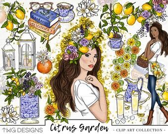 Fashion Girl Clip Art Glitter Watercolor Clipart PNG Lemons Citrus Blue Hand Drawn Tumblr Illustration Commercial Use Digital Download