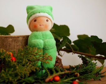 Christmas Elf, Waldorf Elf doll, Winter Gnome, natural toy, green christmas elf, handmade Christmas, Waldorf doll, natural doll
