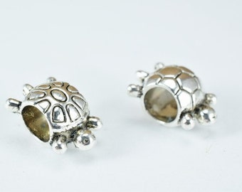 Silver Alloy Turtle Beads Antique Silver Decorative Design Metal Beads Size 12x8x7mm Hole Size 4.5mm Opening for Jewelry Making