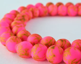 Glass Beads Matte Pink Gold Two Tone Rubber Over Glass Size 10mm Round For Jewelry Making Item#789222045869