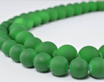 Glass Beads Matte Green Rubber Over Glass Size 8mm/10mm Round For Jewelry Making Item#789222046064