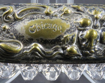 Chicago World's Fair Lead Crystal Trinket Box With Silver Plated Lid Art Nouveau