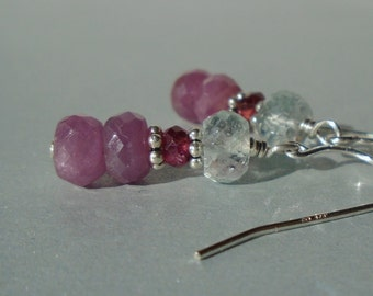 Pink Sapphire Earrings with Aquamarine and Garnet, Aquamarine Earrings, Pink Sapphire Earrings, Garnet Earrings, Gemstone Short Earrings