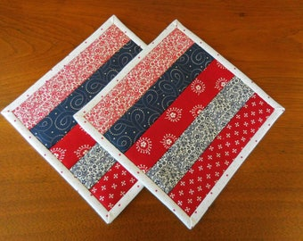 Quilted Pot Holders/Hot Pads Patchwork with Red, Bllue and White Print Fabric/ Set of two