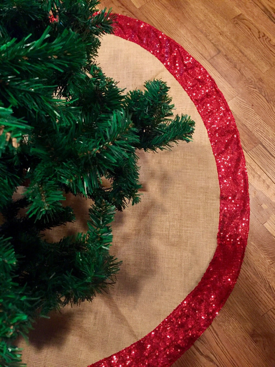 christmas tree skirt burlap and gold or red sequence christmas tree skirt tree skirt 60 inches diam christmas decor sequin sequence - Gold Christmas Tree Skirt