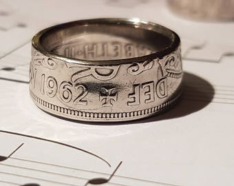 Coin Ring Half Crown  - Hand Crafted 1962 - Size U
