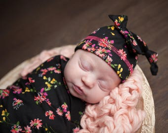 Quinn's Dark Floral Newborn Swaddle Set | Black & Pink Floral Baby Girl Receiving Blanket | Soft Swaddle Blanket, Hat, Headband