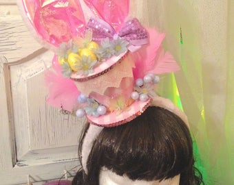Easter top hat mini top hat spring pink eggs feathers lace party