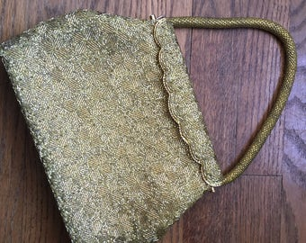 Vintage gold bead beaded purse bag