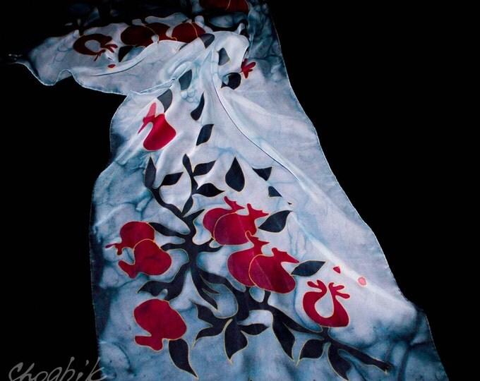 Handmade Grey Armenian Silk Scarf Handpinted Scarves Armenian Pomegranate