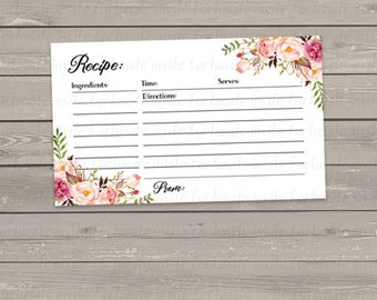 floral recipe card printable, recipe cards for bridal shower, watercolor flowers with white background, 3x5, instant download
