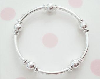 Sterling Silver Noodle Bracelet, Stretch Bracelet, Noodle Bracelet, Silver Bead Bracelet, Sterling Silver Bead Bracelet, Gift For Her