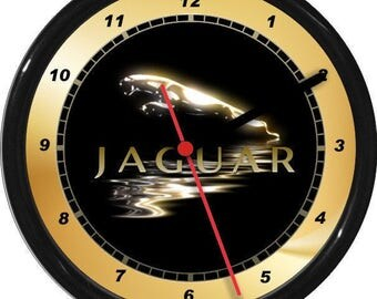 JaguarWall Clock Garage Work Shop Gift Father's Day Man Cave Rec Room