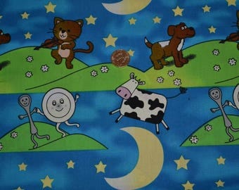 "hey diddle diddle the cat and the fiddle  fabric  one piece 19 x  54"" wide"