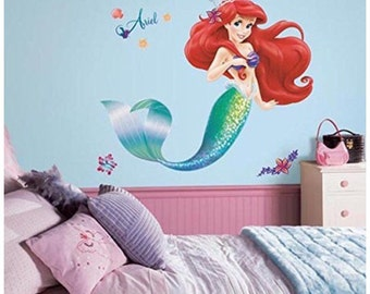 The little mermaid birthday/bedroom stick and peel wall decal decor