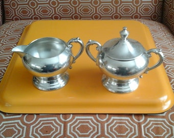Sheffield Silver Sugar and Creamer, Silver Plate Vintage Lidded Sugar and Cream Set